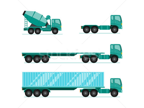 Truck illustration sets. trailer with container, long vehicle, c Stock photo © taufik_al_amin