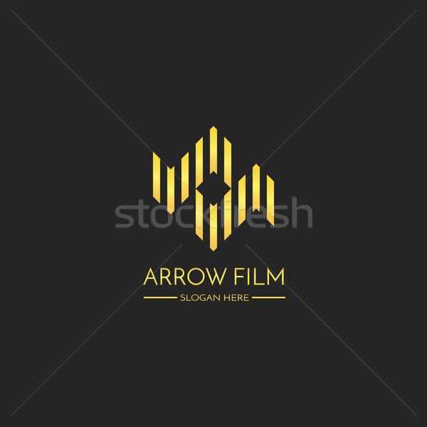 Doble flecha logo icono carta película Foto stock © taufik_al_amin