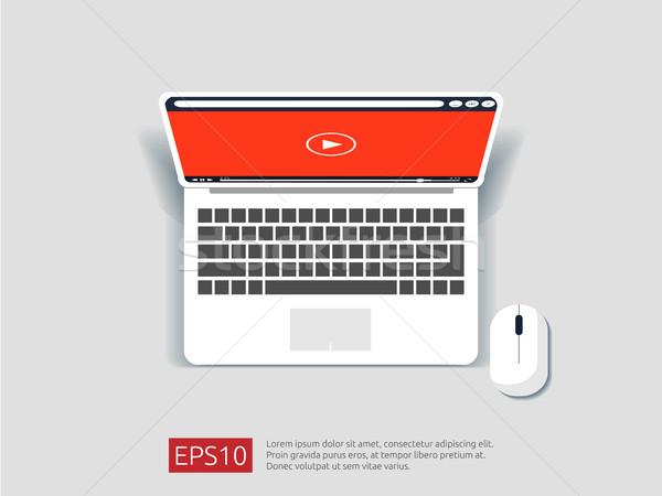 Video giocatore top view laptop schermo Foto d'archivio © taufik_al_amin