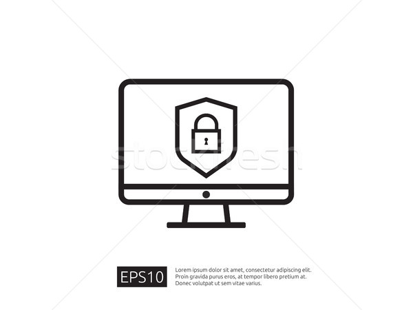 computer shield line icon, Privacy Data protection and Internet  Stock photo © taufik_al_amin