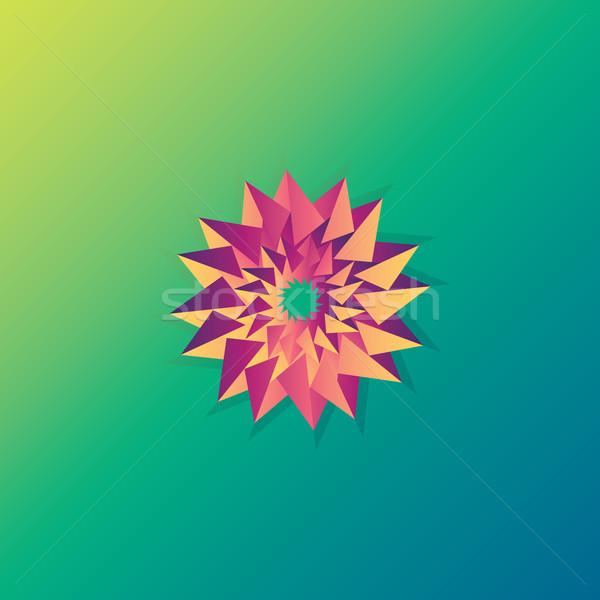 Flor assinar logotipo sol ornamento Foto stock © taufik_al_amin