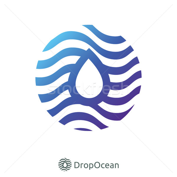negative space droplet and blue circle wave logo Stock photo © taufik_al_amin