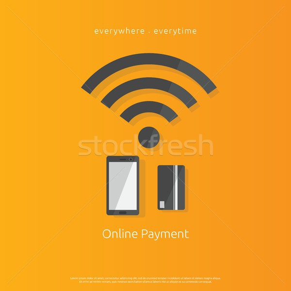 internet mobile payment banking icon using smartphone and bank card. Flat style Vector illustration. Stock photo © taufik_al_amin