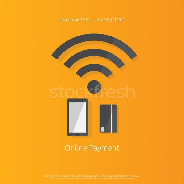 Internet mobiles paiement bancaires icône smartphone Photo stock © taufik_al_amin