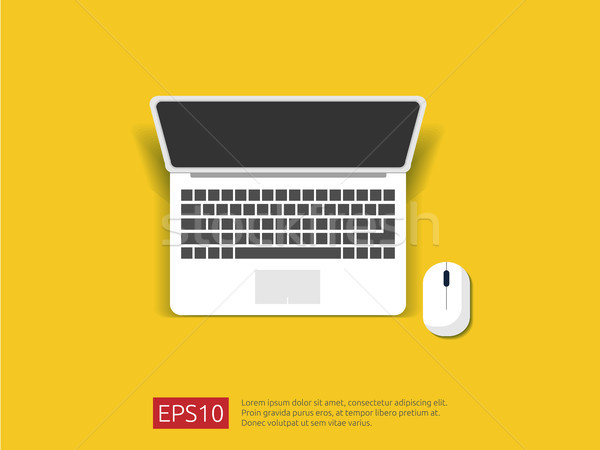top view of blank screen laptop and mouse vector illustration Stock photo © taufik_al_amin