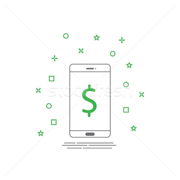 Smartphone icoană linie stil mobil plata Imagine de stoc © taufik_al_amin