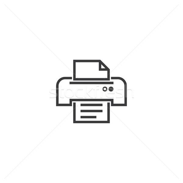 printer symbol icon. pixel perfect outline line style template. Stock photo © taufik_al_amin