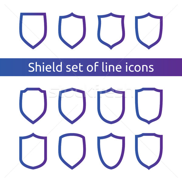 shield logo symbol icon set with outline line style. vector illustration template concept for securi Stock photo © taufik_al_amin