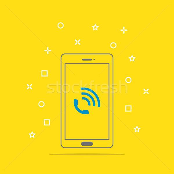 Phone call icon button on smartphone screen vector illustration Stock photo © taufik_al_amin
