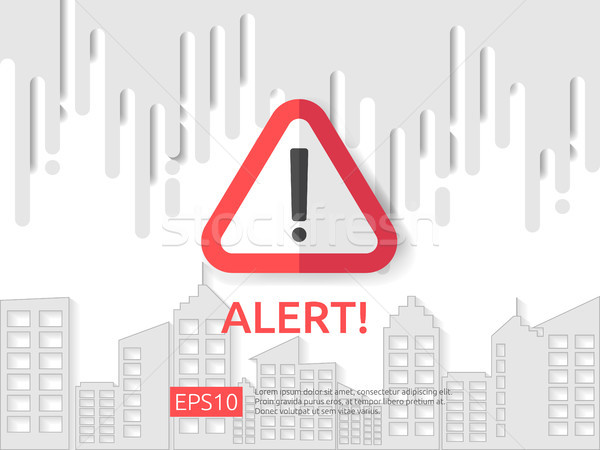 attention exclamation warning alert mark symbol sign with cloud and building background. internet se Stock photo © taufik_al_amin