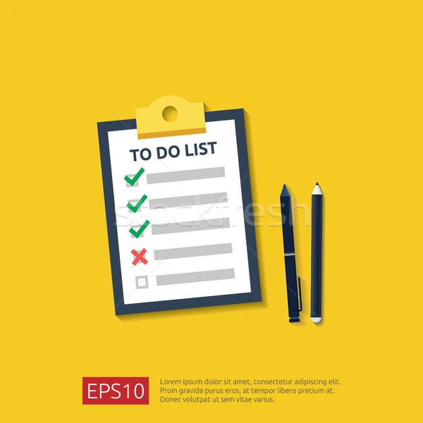 Portapapeles para hacer la lista planificación lápiz pluma estilo Foto stock © taufik_al_amin