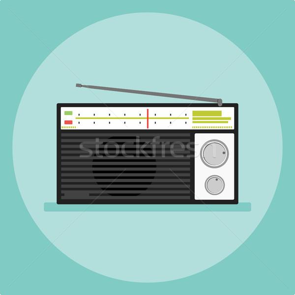 isolated old radio icon flat style vector illustration. Stock photo © taufik_al_amin