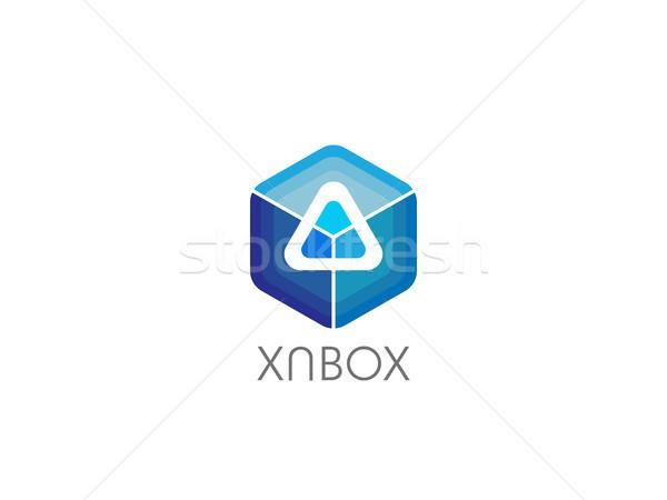 抽象的な 幾何学的な 三角形 キューブ ボックス ロゴ ストックフォト © taufik_al_amin