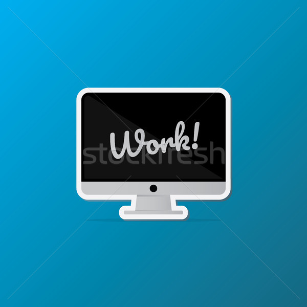 isolated desktop Computer icon. lettering quote on the Monitor screen. flat Sticker style design vec Stock photo © taufik_al_amin