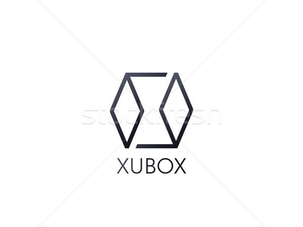 Soyut kutu küp logo ikon şablon Stok fotoğraf © taufik_al_amin