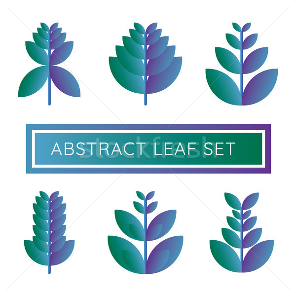 abstract natural leaf logo icon. purple and blue leaf set on whi Stock photo © taufik_al_amin