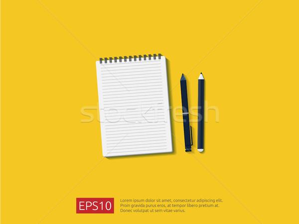 Felső kilátás üres levélpapír lap ceruza Stock fotó © taufik_al_amin