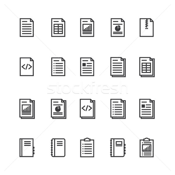 Document and notebook outline icon. isolated checklist paper icon in thin line style for graphic and Stock photo © taufik_al_amin