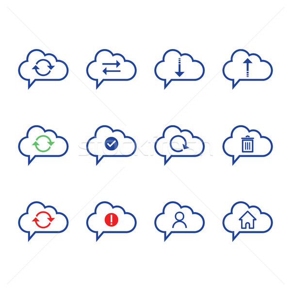 Cloud Computing icon set. outline icon. Includes such as Data Synchronization, Transfer, Access, dow Stock photo © taufik_al_amin