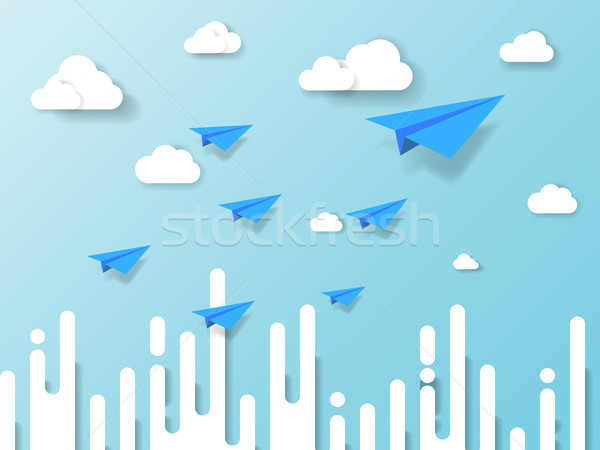 plane flying on blue sky with cloud and abstract background. illustration of business and leadership Stock photo © taufik_al_amin