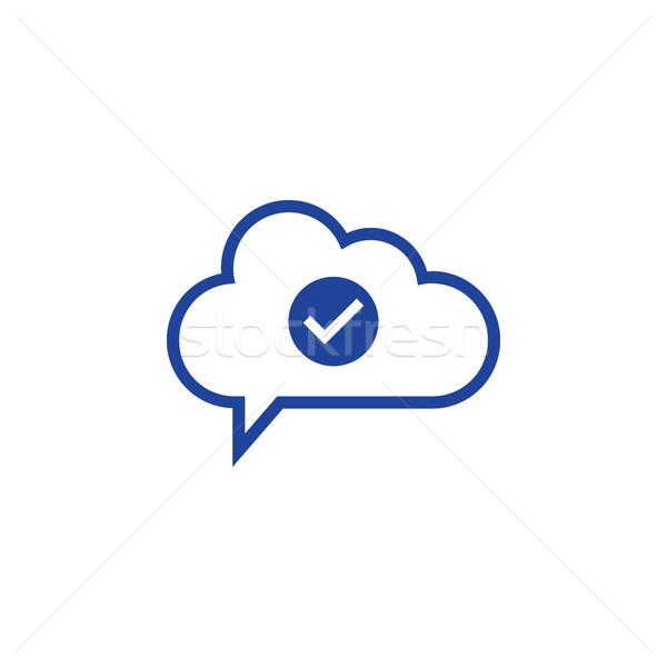 Nuvem verificar ícone computing computador trabalhar Foto stock © taufik_al_amin