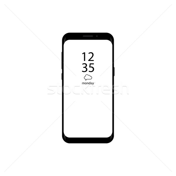 New version of smartphone with time display on screen vector illustration. Frameless display smartph Stock photo © taufik_al_amin
