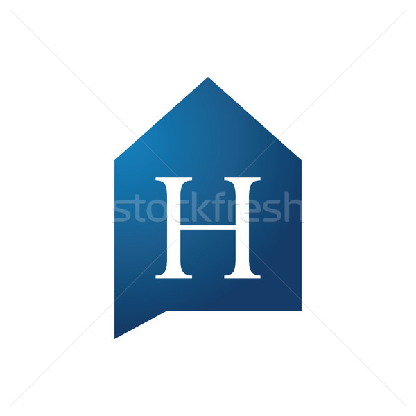 Blue House and initial letter H Logo. Talk house Concept. logo t Stock photo © taufik_al_amin