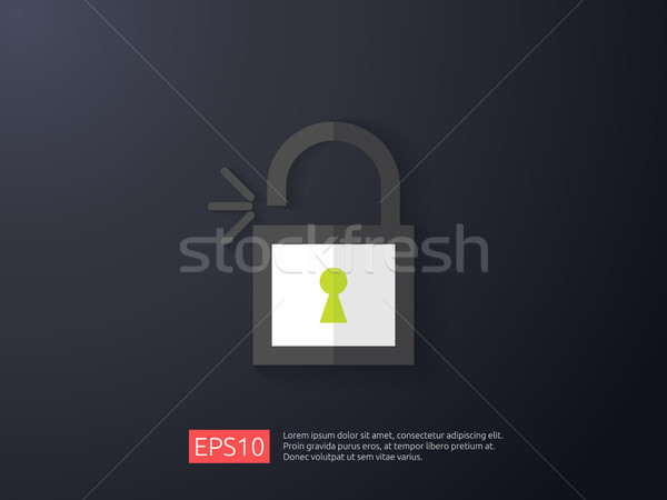 Nyitva lakat ikon zár hozzáférés figyelmeztetés Stock fotó © taufik_al_amin