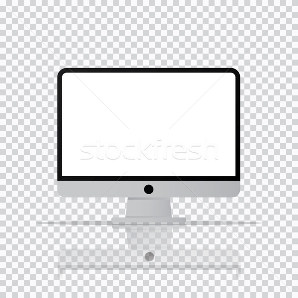 Isolated desktop computer icon. PC monitor icon in transparent b Stock photo © taufik_al_amin