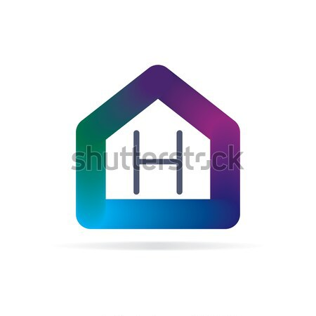 house logo with letter P sign. logo template Stock photo © taufik_al_amin