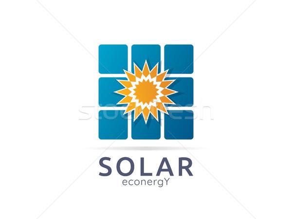Zonnepaneel energie logo icon nul afval Stockfoto © taufik_al_amin