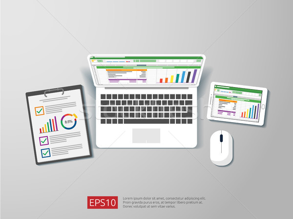 business item in flat style workplace design concept. top view of laptop , report, and tablet with s Stock photo © taufik_al_amin