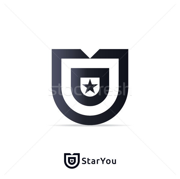 Letter U Logo design Template with star sign Vector illustration Stock photo © taufik_al_amin