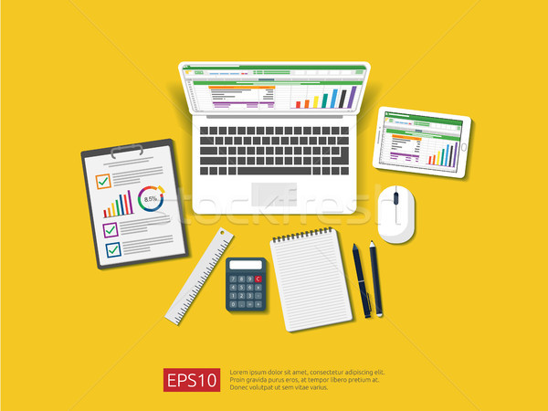 business item in flat style workplace design concept. top view of laptoop, office things and other o Stock photo © taufik_al_amin