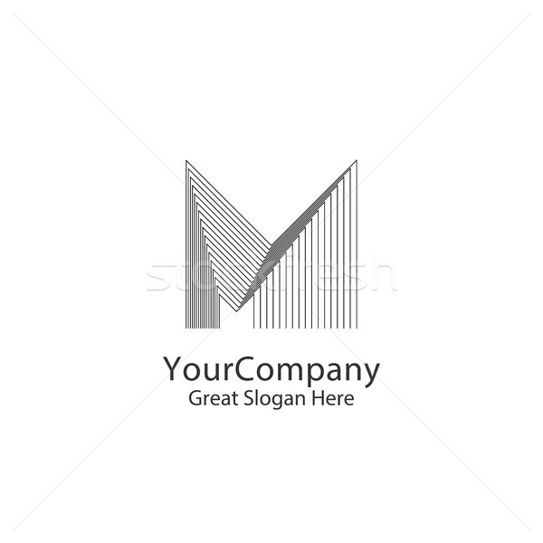 Letter M logo design concept for corporate business or urban city skyline Real Estate. Linear creati Stock photo © taufik_al_amin