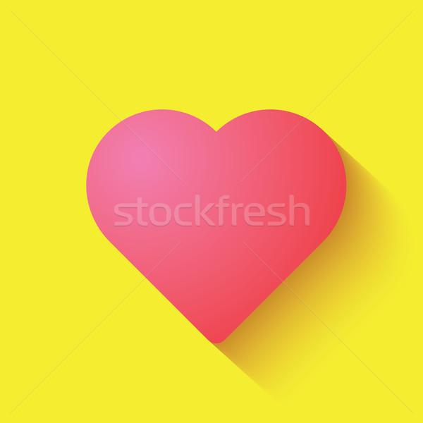 Miłości serca ikona różowy kolor wektora Zdjęcia stock © taufik_al_amin