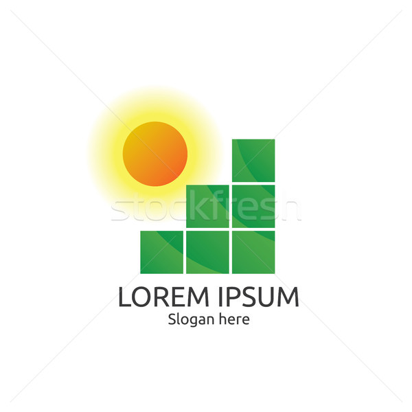 Sun and field logo. abstract tile concept design. logo template. Stock photo © taufik_al_amin