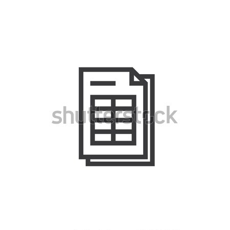 spreadsheet document paper outline icon. isolated note paper icon in thin line style for graphic and Stock photo © taufik_al_amin