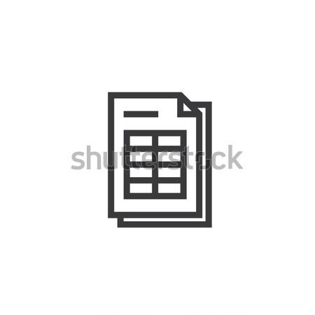 Arkusz kalkulacyjny dokumentu papieru ikona odizolowany Zdjęcia stock © taufik_al_amin