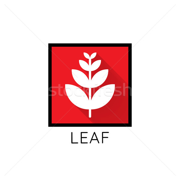 growth leaf logo icon. leaf in red square concept. flat design v Stock photo © taufik_al_amin