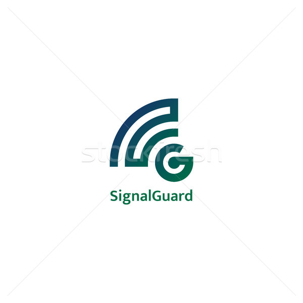 initial letter G logo. signal wave wifi wireless audio concept. Stock photo © taufik_al_amin