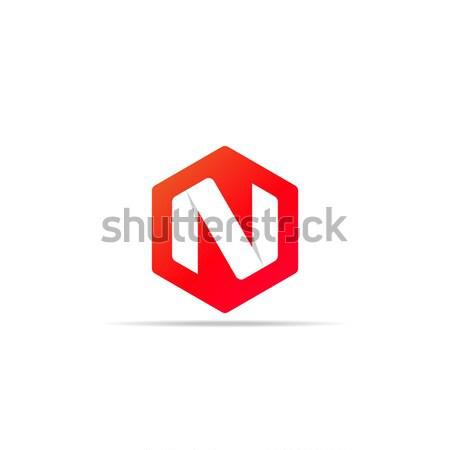 N betű logo ikon poligon forma terv Stock fotó © taufik_al_amin