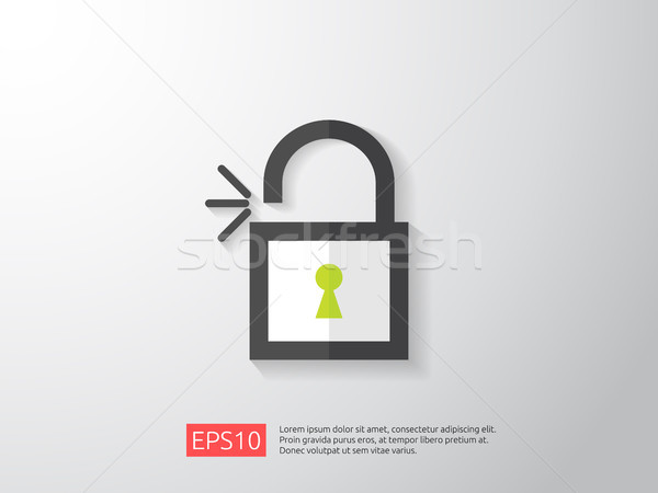 open padlock icon vector illustration. lock access warning alert security concept. safe secure of pe Stock photo © taufik_al_amin