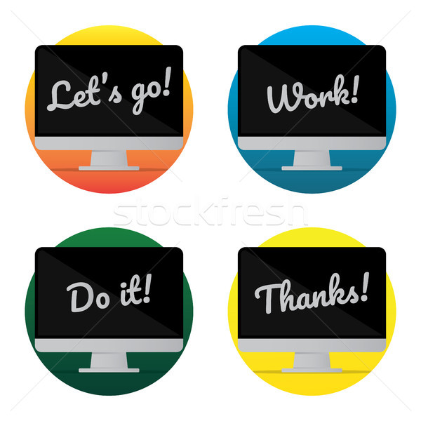 isolated desktop Computer icon set. lettering quote on the Monitor screen. flat Sticker style design Stock photo © taufik_al_amin