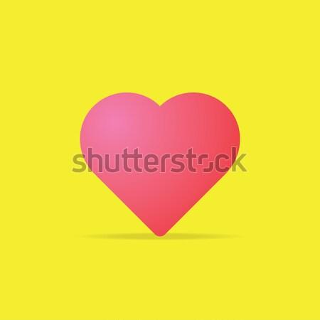 Szeretet szív ikon rózsaszín szín vektor Stock fotó © taufik_al_amin