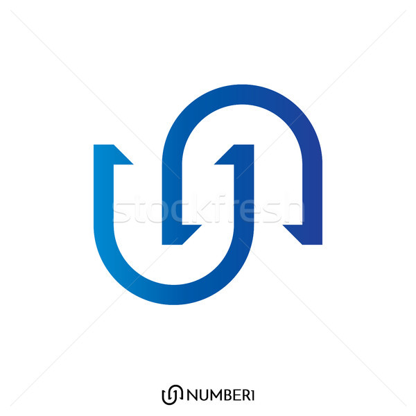 initial Letter U and N, or S and C logo with number 1 sign logo  Stock photo © taufik_al_amin