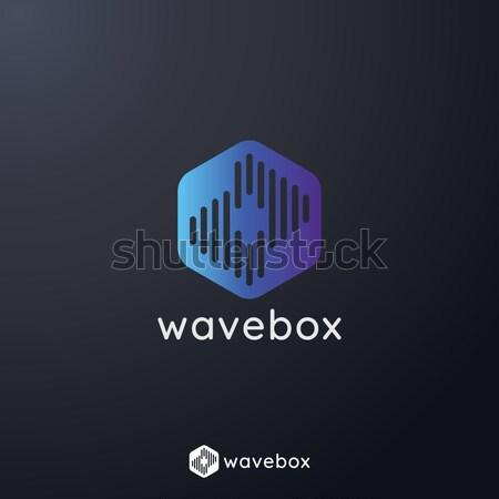 Abstract audio segnale onda impulso logo Foto d'archivio © taufik_al_amin