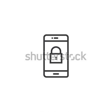 phone lock Icon. line style vector illustration Stock photo © taufik_al_amin