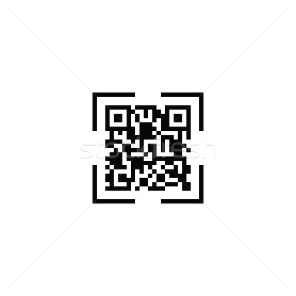 Stock photo: QR code scan icon. vector illustration.