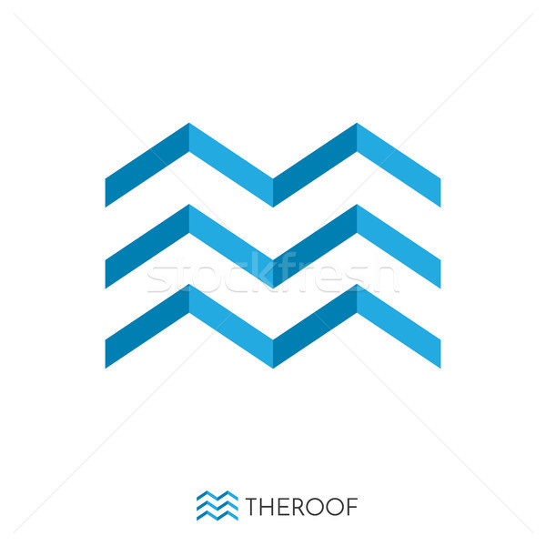 blue roof and wave concept logo. logo template.  Stock photo © taufik_al_amin